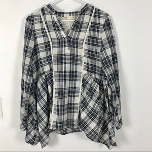 Altar'd State Plaid Floral Long Sleeve Top